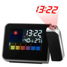 Weather Forecast Projection Luminous Clock Control LED Display Electronic Desktop Digital Table Black Temperature Alarm Clock