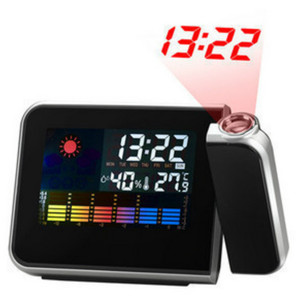 Weather Forecast Projection Luminous Clock Control LED Display Electronic Desktop Digital Table Black Temperature Alarm Clock
