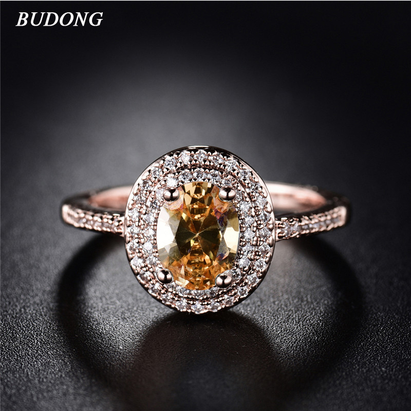BUDONG Jewelry Infinity Halo Finger Gold Color Ring for Women Oval Crystal Cubic Zircon Wedding Ring Jewelry for Lady XU389