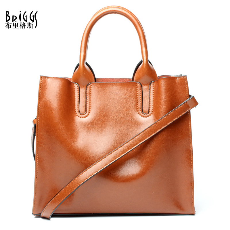 BRIGGS New 2017 Women Casual Tote Genuine Leather Women Bags Luxury Brand Shoulder Bag High Quality Women Handbag Bolsa Feminina imido new fashion handbag pu leather bags women casual tote shoulder bag crossbody luxury brand bolsa feminina orange red hdg076