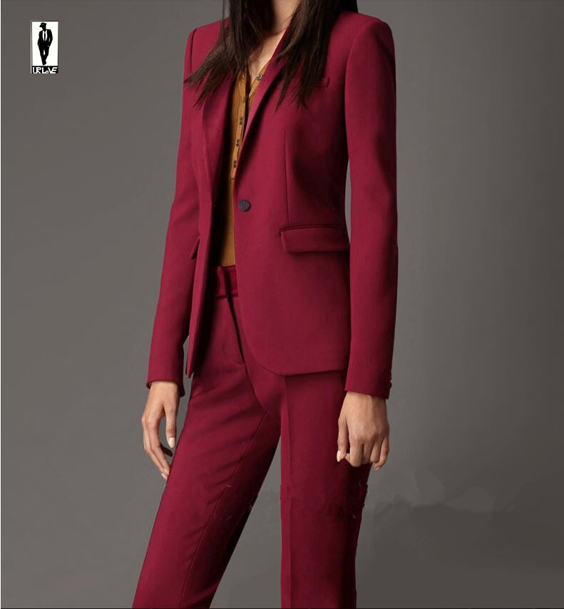 UR 76 Custom Burgundy Bussiness Formal Elegant Women Suit Set Blazers And Pants Office Suits ...