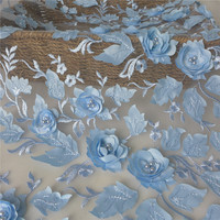 One Yard Delicate Light Blue Pearl Beaded Tulle Mesh Lace Fabric Embroidered 3D Flower Wedding Dress French Lace Fabrics