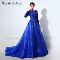 2016 Zuhair Murad Celebrity Dresses With Long Sleeves Robe De Soiree Royal Blue Lace Sheer Neck
