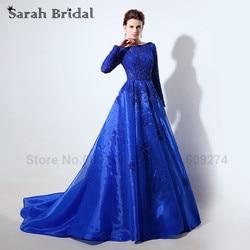 Women elegant formal celebrity dresses long sleeves robe de soiree royal blue lace sheer neck evening.jpg 250x250