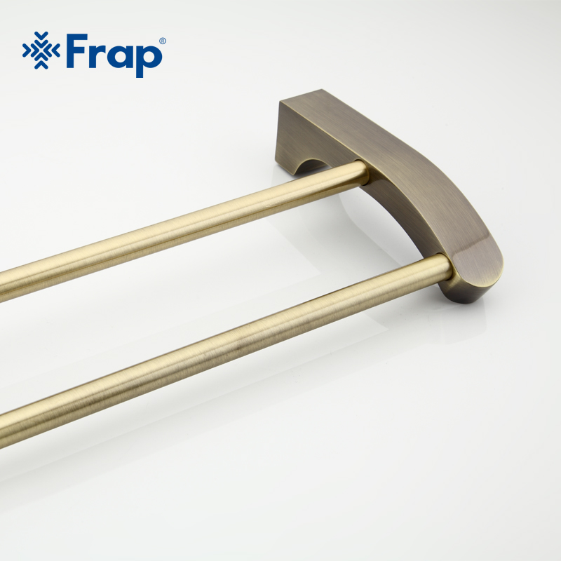 Frap Retro Style Wall Mounted Bronze Surface Double Towel Bars Bathroom Towel Hanger Bathroom Accessories Towel Rack F1409