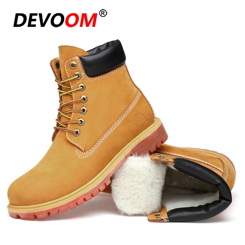2018 New Fashion Waterproof Nubuck Snow Shoes Women Winter Boots Genuine Leather Martins Ankle Boot Lady Fur Army Boots Big Size