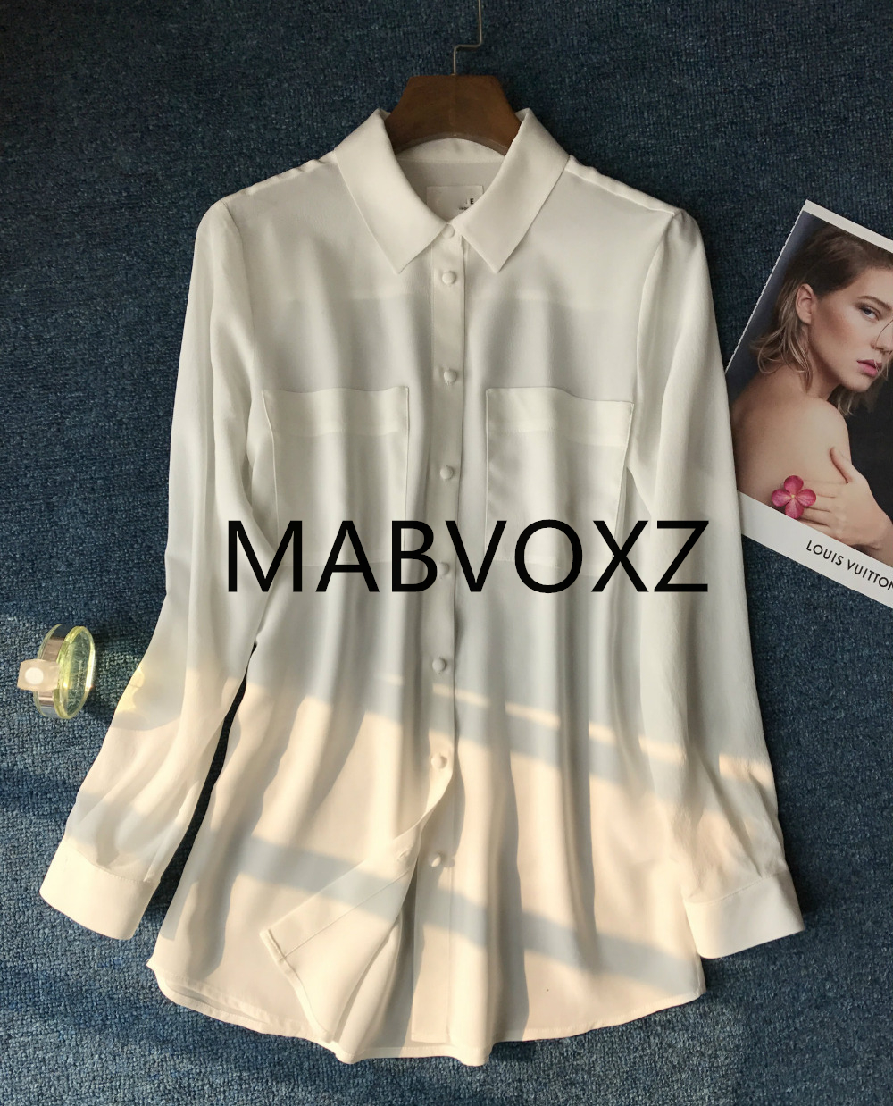 100% 실크 여성 솔리드 더블 포켓 우아한 클래식 블라우스-에서블라우스 & 셔츠부터 여성 의류 의  그룹 1
