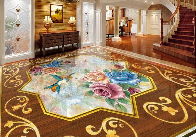 Badkamer Vinyl Muur : Custom vinyl vloeren lijmen muurschildering valentijn rozen