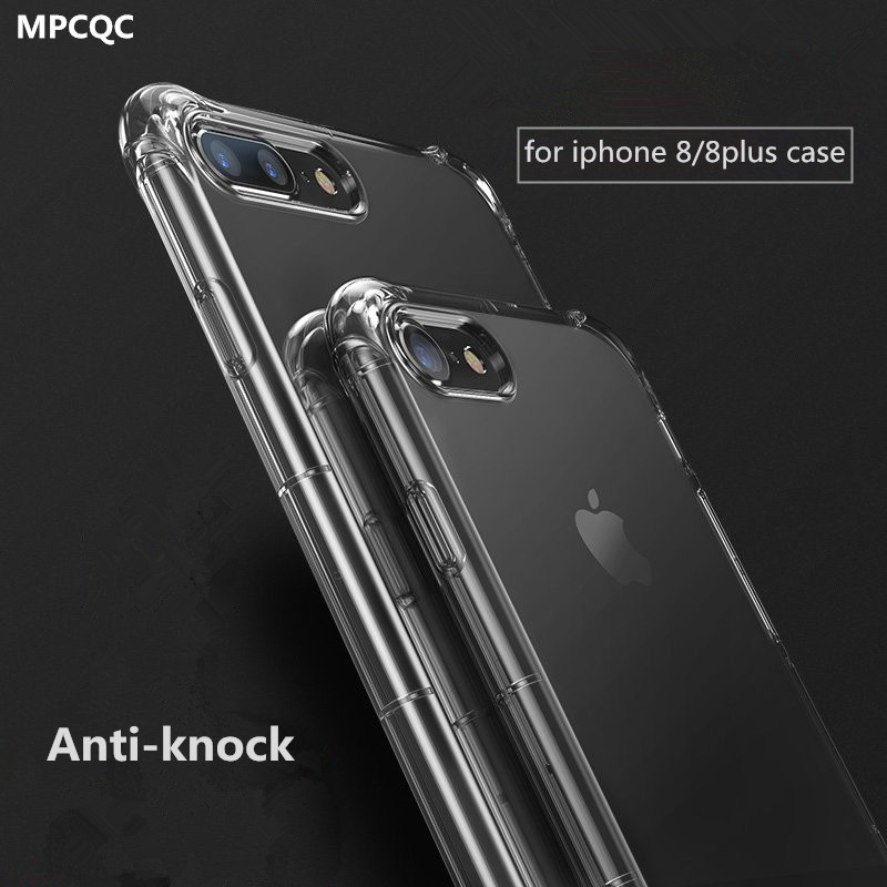 MPCQC for <font><b>iphone</b></font> 8 iphone8 <font><b>case</b></font> silicone luxury Anti-knock Cover Transparent Protective for <font><b>iphone</b></font> <font><b>8plus</b></font> 8 plus <font><b>cases</b></font> glass bags