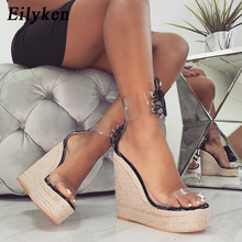 Eilyken Wedges Shoes For Women Open Toe Ankle Platform Beach Sandals Solid Weave High Heels Buckle Strap Roman Sandals Shoes