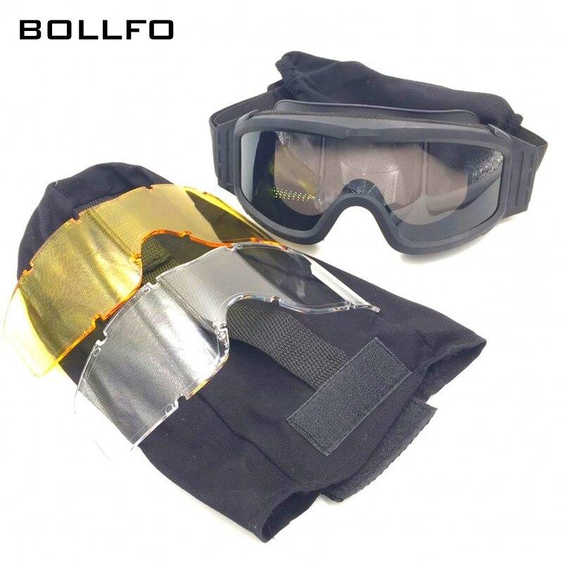 Военная Униформа Тактический Очки Стрельба защита глаз очки 3 объектива Мотокросс Байкер Лыжный Спорт катание очки тактические очки