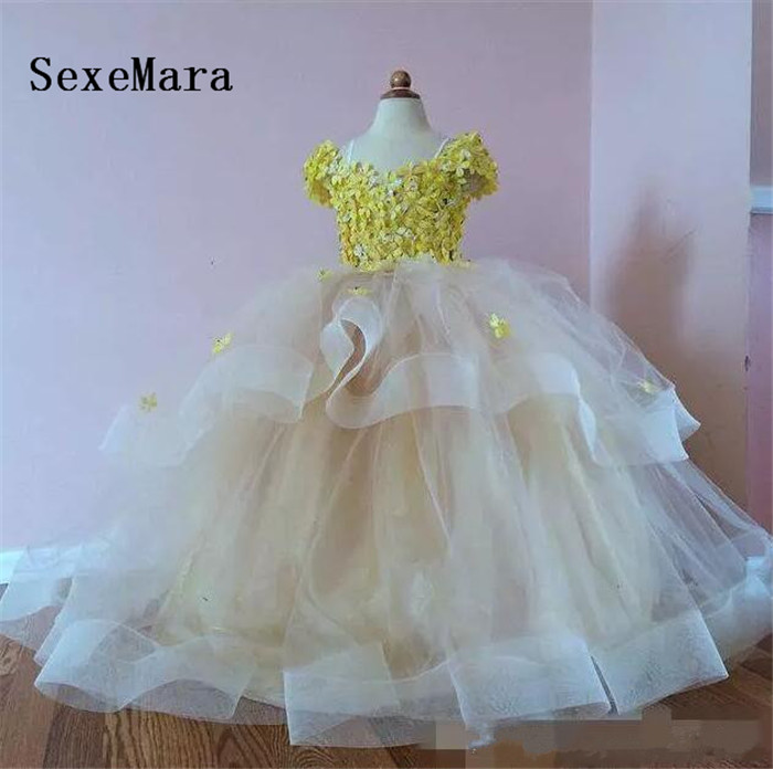 Real Image Puffy Ball Gown Little Flower Girls Dresses for Wedding Yellow Flower Ruffles Tiered Kid Pageant Dress Communion Gown цены онлайн