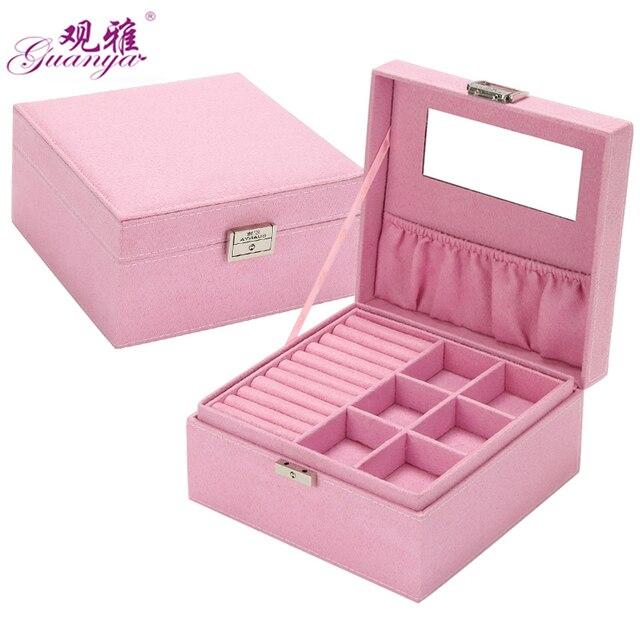 Гуаня 2 слоя бархатные квадратные наручные часы шкатулка для ювелирных изделий Модный ювелирный дисплей упаковочный Чехол Органайзер подарочные коробки 5 цветов