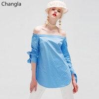 Changla Women Blouses 2016 Summer Elegant Bow Off Shoulder Female White Blouse Shirts Women Tops Striped