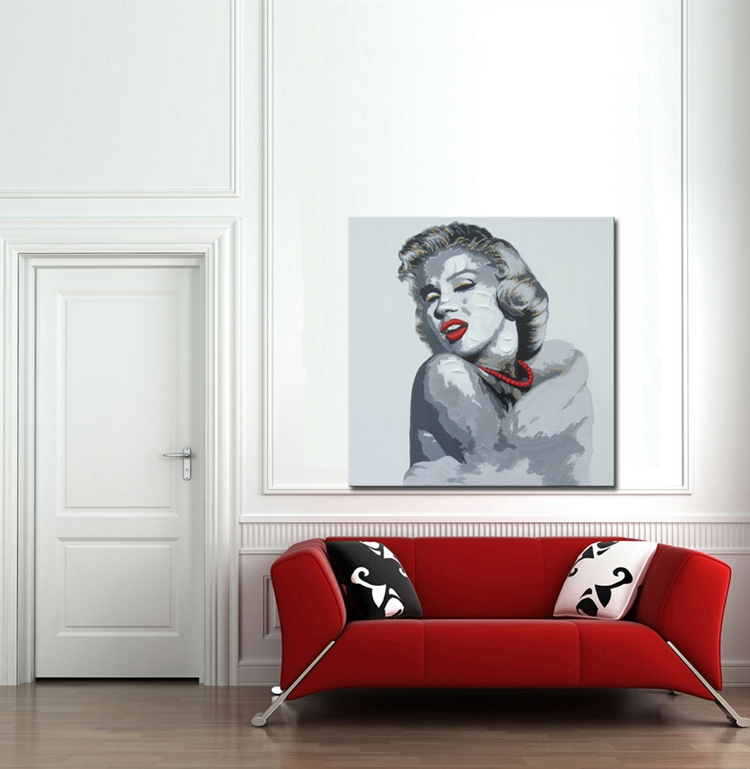 2019 Handmade Dropshipping Heavy Texture oil painting Sexy Marilyn Monroe Canvas Painting Home Decoration Wall Art Pictures in Painting Calligraphy from Home Garden