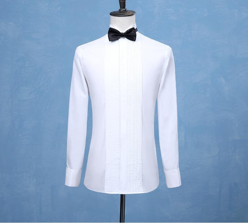 2019 New Fashion Groom Tuxedos Shirts Best Man Groomsmen White Or Black Men Wedding Shirts Formal Occasion Men Shirts