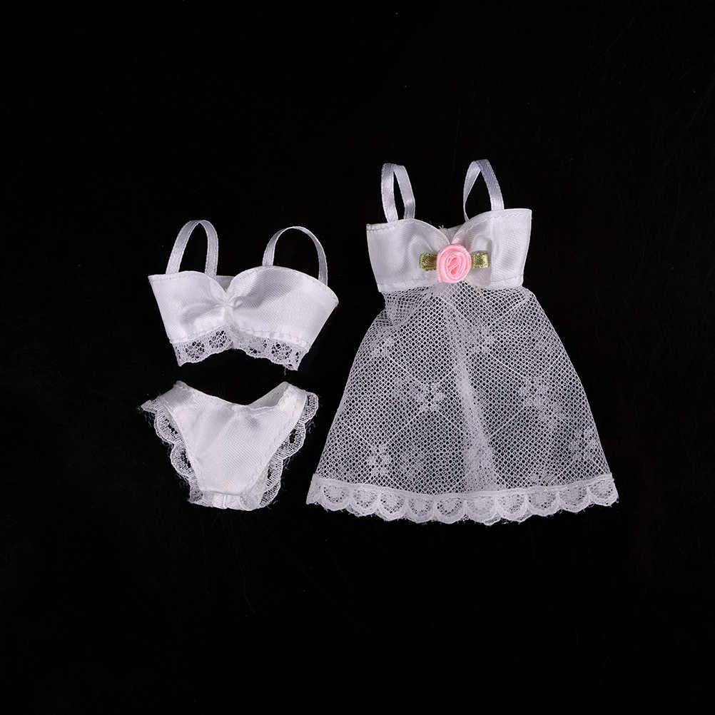 1 Set Warna Putih Lingerie Baju Tidur Renda Gaun Malam + Bra + Celana Dalam Bikini Pakaian untuk Gadis Boneka
