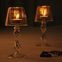 Fashion Umbrella Glass Tealight Candle Holders Transparent Candlesticks Romantic Dinner Home Decoration Candle Holder