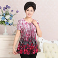 Special Sale Women T-Shirts Summer New Middle Age Mother O Neck Print Short Sleeve T Shirt Casual Large Size Grandma Top Y5-