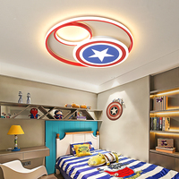 Children's room lamp boy Creative cartoon beauty team shield led bedroom lamp simple modern round personality ceiling lamp