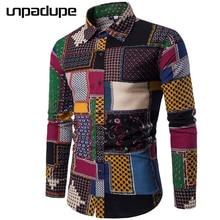 Unpadupe бренд-Костюмы 2018 Модная рубашка мужской Лен рубашки Slim Fit отложным Для мужчин с длинным рукавом Для мужчин s гавайская рубашка Большой