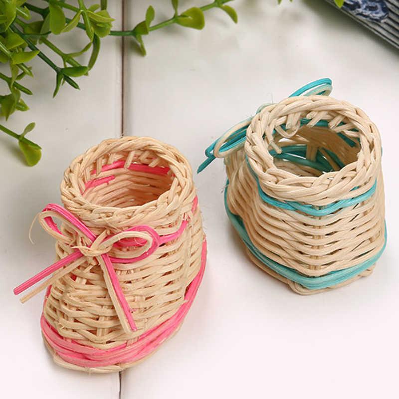 Bonito Rosa Azul Sapato Palha Cesta de Flores Secas Vaso de Mesa Com Função De Armazenamento