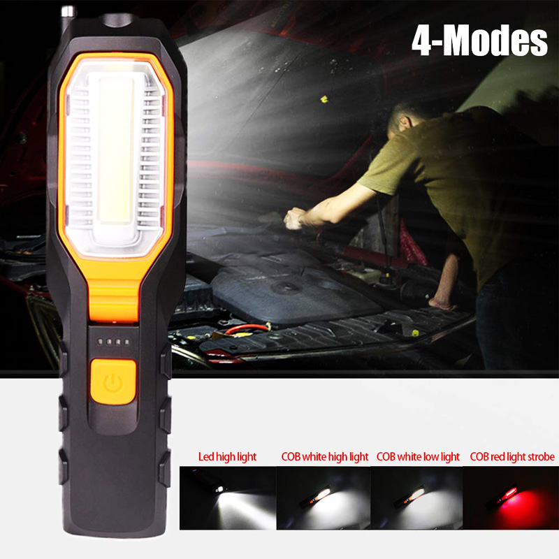 Image 5 - Dropshipping Portable Handheld USB Flashlight LED Rechargeable Work Light COB Rotatable Torch Magnet Hook 4 Mode for Car-in LED Flashlights from Lights & Lighting