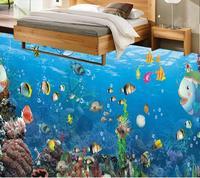 Personalizado hd 3d piso oceano mundo papel de parede 3d piso azulejos mural papel de parede piso do banheiro moderno geométrico