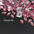 New 200pcs Nail Glitter Light Pink Horse Eyes Design Stones Acrylic Nail Accessories Make Up Decoration Nail Art Slices 5X10MM