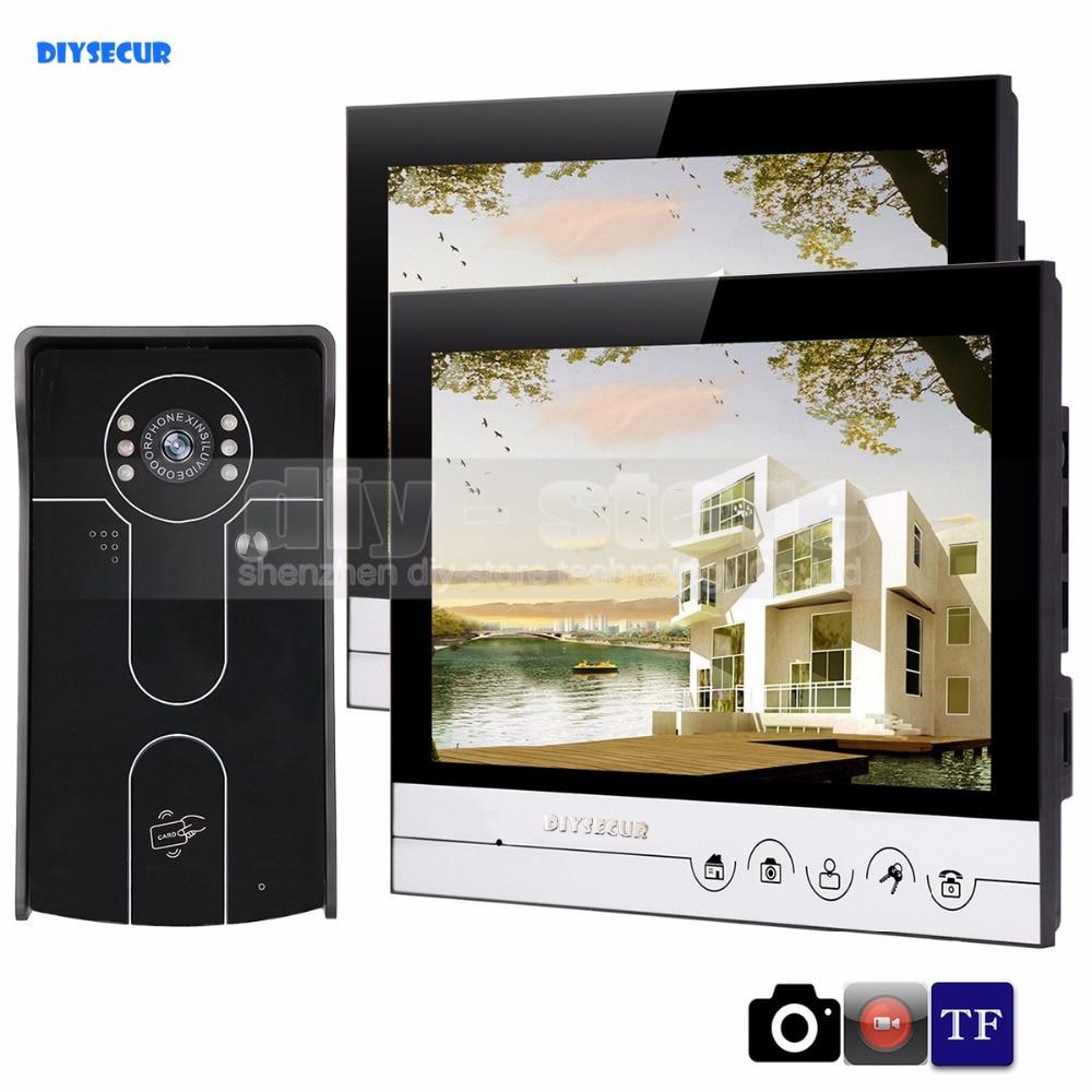 DIYSECUR 9inch Video Record/Photograph Video Door Phone Doorbell Waterproof RFID Camera Home Security Intercom System 1V2