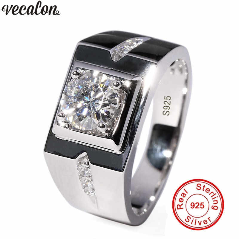 Vecalon solitaire rings cho nam giới Pave thiết 0.8CT AAAAA cz Sona Đá 925 Sterling Silver nam Engagement wedding ring