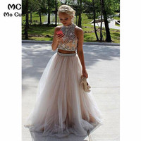 2018 Two Pieces Gown Prom Dresses Long with Crystals by Hand Backless Tulle Formal Evening Party Dress 100% Real