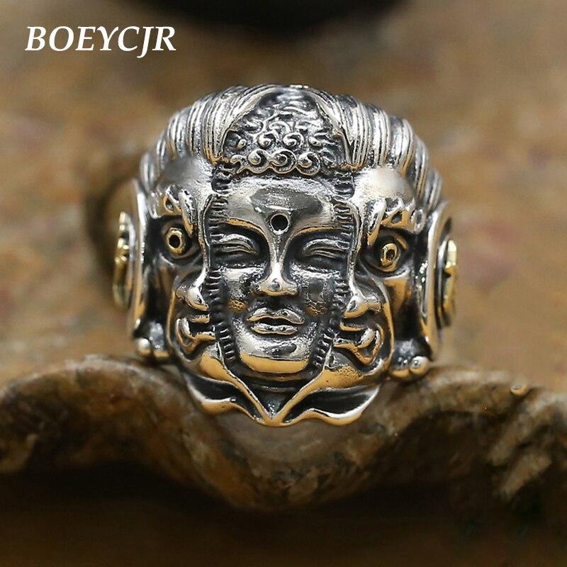 BOEYCJR S925 anneaux bouddha et démon en argent Sterling bijoux fins anneaux réglables Vintage pour hommes cadeau anneau anillo