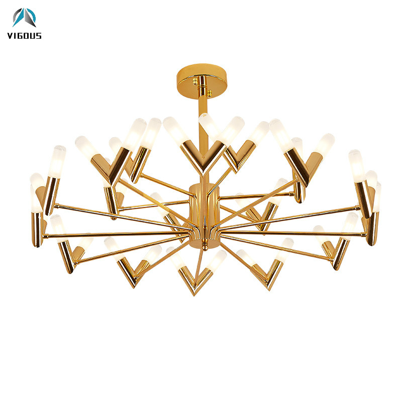 Post Modern Lustre Gold / Black Rotatable Chandelier Lighting Plate Metal Frosted Glass Tube Shades Led Chandelier Living Room caged onion post verdi gris with galley 3 candelabra sockets frosted glass