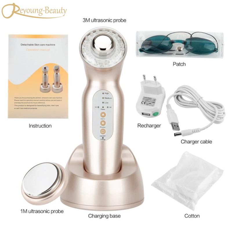цена Two Heads 1mhz & 3mhz Ultrasound Galvanic Ultrasonic 3 Color Led Light Photon Rejuvenation Face Body Skin Firm Tightening Machin