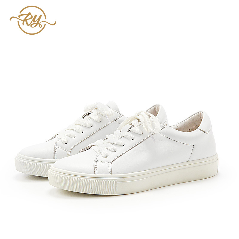 RY-relaa fashion leather women's shoes 2019 new sports casual shoes first layer leather white shoes fashion shoes(China)