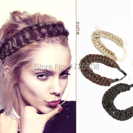New Hair Accessories for Women Thick Braided Headbands Fishtail Braids New  Bohemian Wigs Loose Braid Elastic Hair Band Extension 22133a1b194