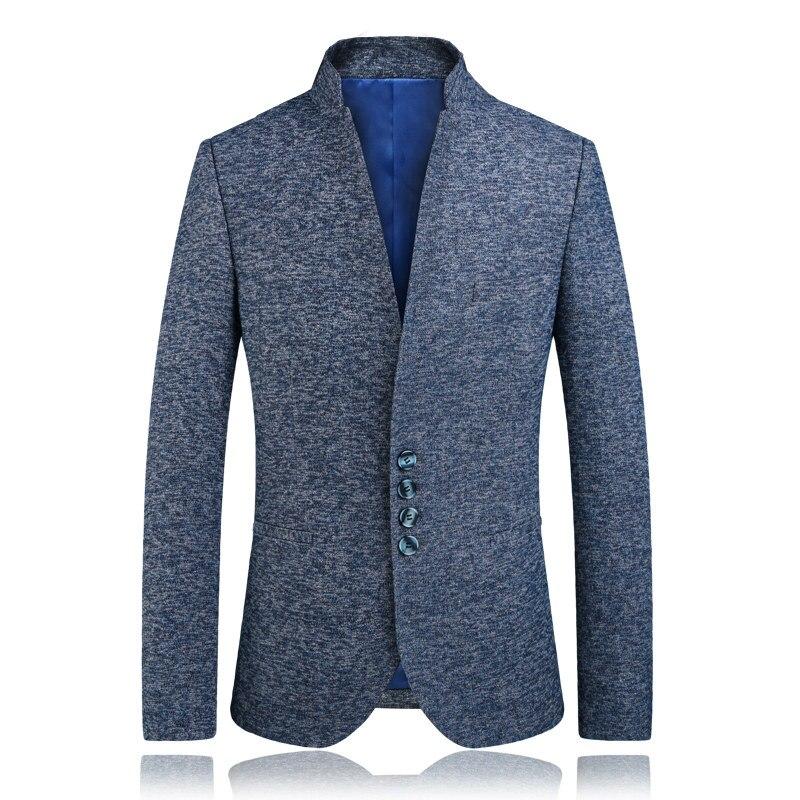 Pochette Homme Poitrine Manteau Supérieure Taille Mode Costume Grande Montant Pour Qualité De Grey Blue Unique Veste 2018 Jolie Pur 4xl Nouveauté Col bvm6I7gyYf