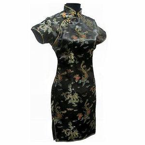Image 3 - Grande taille 3XL 4XL 5XL 6XL Mini Cheongsam bleu marine Vintage Style chinois femmes Qipao robe courte Vestido S M L XL XXL