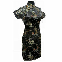 Special Offer Navy Blue Chinese Womens Mini Cheongsam Qipao Dress ropa mujer Dragon Phenix Size M L XL XXL 3XL 4XL 5XL 6XL J3093