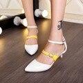 Moda Hebilla de La Boca baja zapatos de mujer Primavera/Otoño Elegante de la Fiesta bombas de Charol punta estrecha Oficina de Señora bombas de trabajo