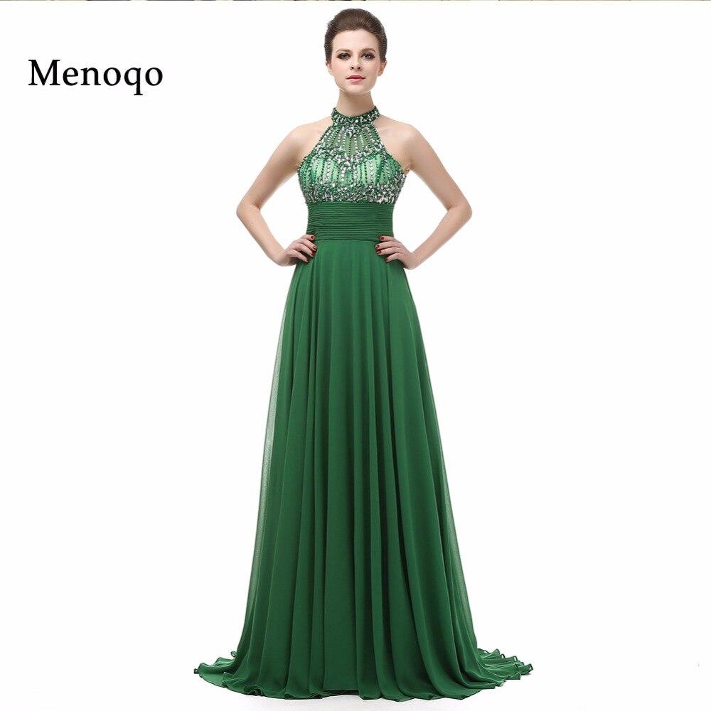 4cc00c8dd5 2018 New Fashion Abendkleid Actual Image High neck A line Chiffon Long Prom  Dresses Beaded Green long Evening Dresses 2018