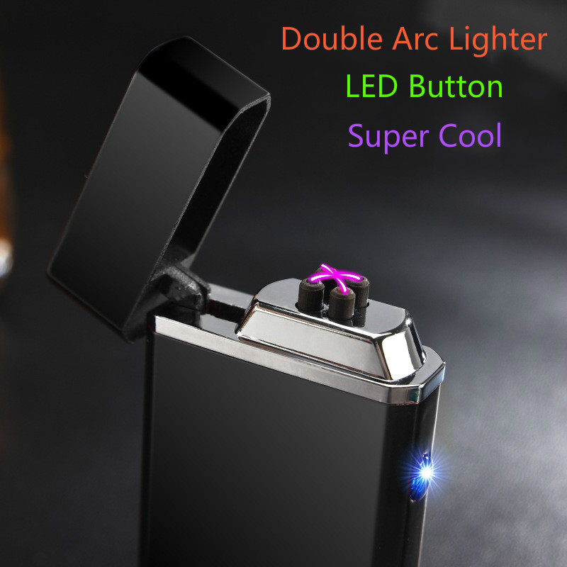 Metal Windproof Electronic Lighters Charging Double Arc Usb Charging Electric Plasma Pulse for Smke Pipe Cigarette Cigar