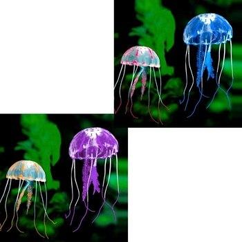 Yüzmek parlayan etkisi yapay denizanası akvaryum dekorasyon balık tankı sualtı canlı bitki ışık süs su manzara