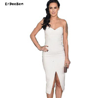 High Quality Autumn Winter Women Brand White And Black Bandage Dress Cocktail Party Dress V Neck
