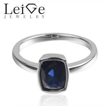 LeiGe Jewelry Lab Created Blue Sapphire 925 Sterling Silver September Birthstone Cushion Cut Engagement Solitaire Ring For Woman