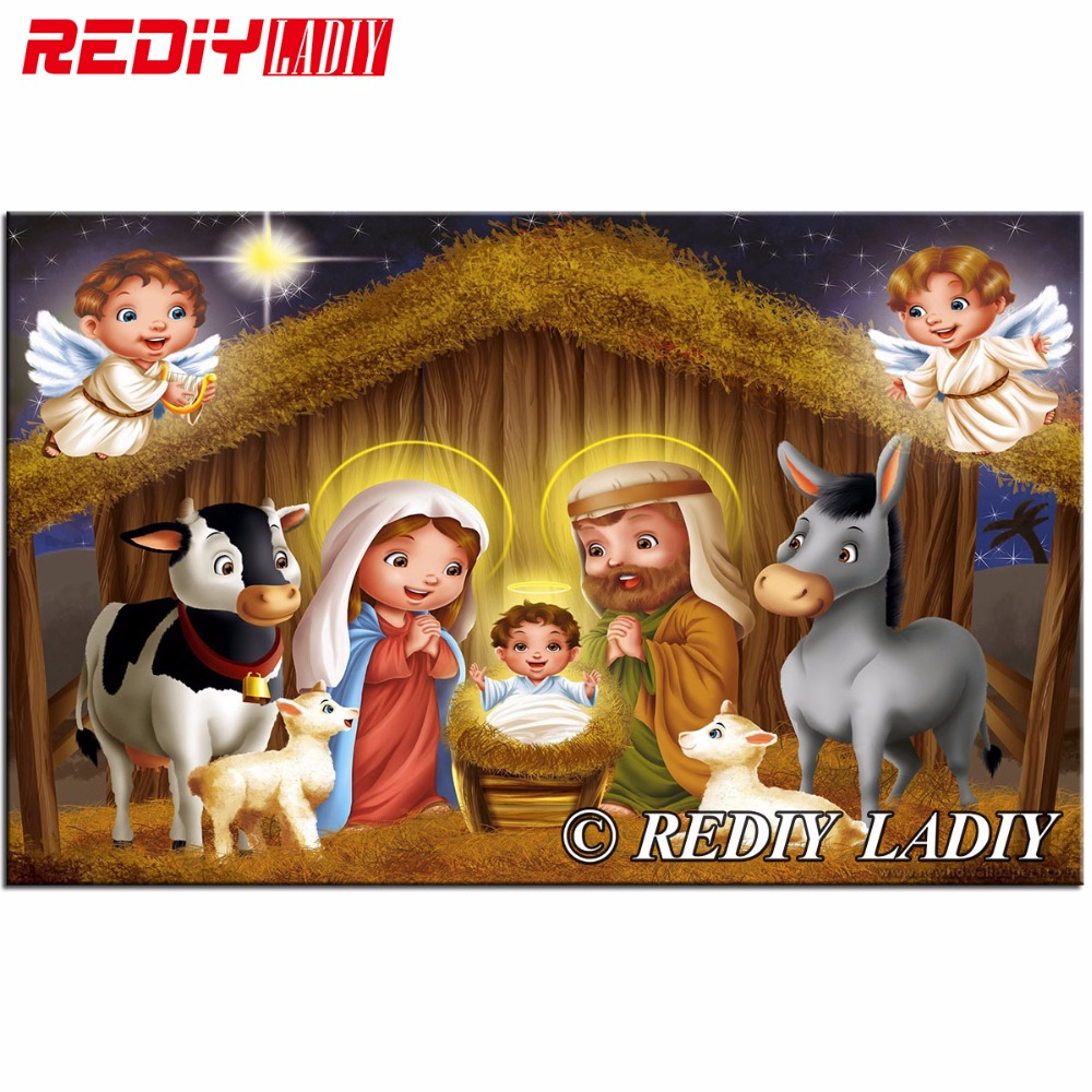 Nuevo Diy diamante pintura mosaico Navidad Natividad Jesús costura ...