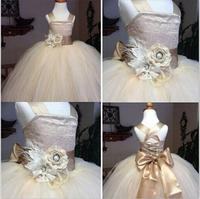 2016 Vintage Lace Rustic Champagne Color Spaghetti Straps Fluffy Tulle Ball Gown Flower Girl Dresses For
