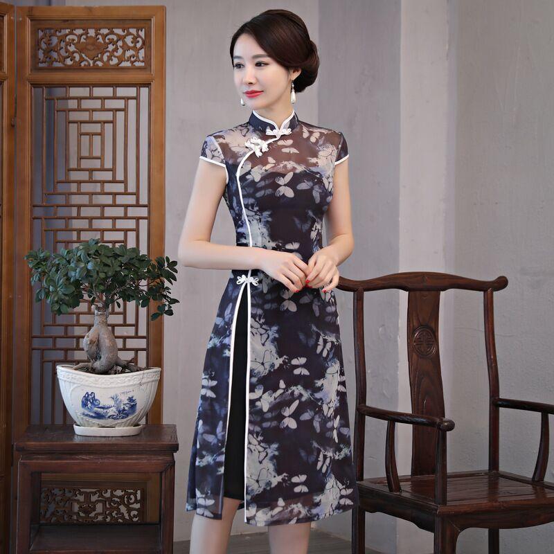 Fashion Chinese style Knee Leng Cheongsam New Arrival Womens Chiffon Dress Elegant Qipao Vestido Size S M L XL XXL XXXL 189685-in Dresses from Women's Clothing    1