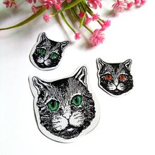 10pcs/lot  Cute Cat patches Embroidered Iron on Patches for Clothing DIY Stripes Clothes Stickers Custom Badges